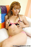 Cute tranny goes down and gets a mouthful of dick