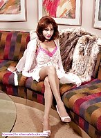 Tranny in fur on the sofa