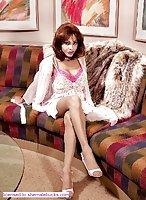 Tranny in fur on the sofa
