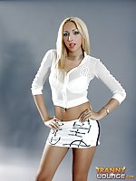 Blonde Tranny Poses & Shows Boobies