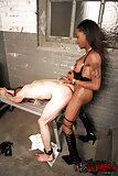 Ebony Tranny Flashing & Gets Blowjob From Slave