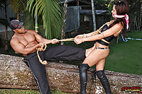 Tranny Slave Gets Buttfucked Doggystyle Outdoor