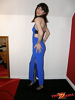 Skinny Tranny In Blue Evening Gown