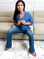 Flat chested ladyboy takes off jeans