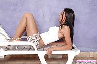 Laiza playful pantyhose shemale babe