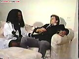 Plump ebony shemale satisfies horny stud