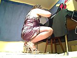 Burning crossdresser in stockings pleases himself