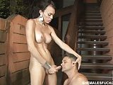 Hot shemale gives great facial to her lover