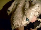 Dildoing in fur coat