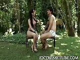 Brunette Tbitch fucked outdoor