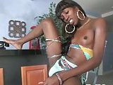 Unbelievable solo of shocking black Tgirl