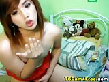 Skinny Asian Shemale Jacks her Cock