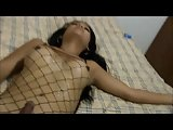 Asian Tranny Shoots Her Load