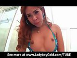 Ladyboy Nong Oiled Up O-Ring Bareback