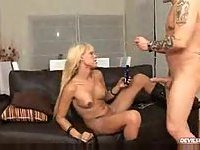 Blond Tgirl with a small prick gets anal