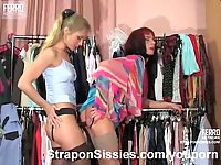 Shy girl penetrates a crossdresser with a strap-on