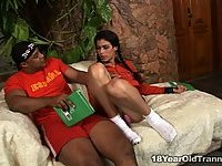 Brunette shemale is the best lover for ebony chap