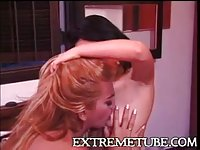 Blonde tranny drills asian chick