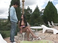 Long haired cutie drills her bf outdoors