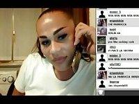 Webcam tranny stroking her big cock