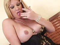 Amazing blonde tranny masturbating