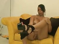 Puffy ebony TS masturbating