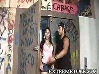 Latina TS rides dude cock