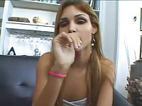 Tall leggy tranny teen does her best