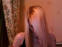 Blonde teen TS jerking off on webcam