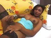Yasmin di Bellis in blue lingerie fucks guy