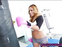 Sexy TS Jenna Belle feeling horny at the gym