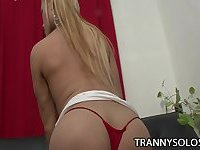 Blonde TS Mia Rivers and her hard cock
