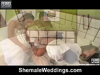 On the night of nuptials beautiful brunette shemale fucks her husband