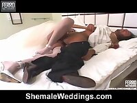 On the night of nuptials beautiful brunette shemale fucks her husband