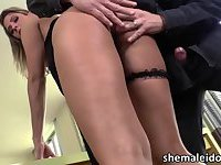 Beautiful tranny Nicole Bahls in anal hardcore anal sex and cum burst
