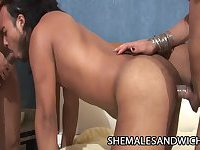 Big butt shemales in 3-way with a guy