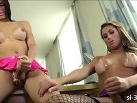 Sizzlin hot trannies Bruna Castro and Julianna Souza fucking