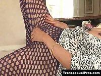 TS Jamie Page masturbates in pantyhose