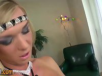 Solo glam tranny jerks her dick