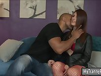 Pretty TS Amy Daly anal fucked in doggy