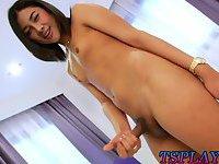 Cute teen shemale handjobs her hard cock