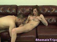 Shemale gets ass eaten