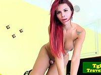 Inked tgirl Fernanda Cristine enjoys solo fun