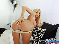 Gorgeous blond shemale sucks cock and screwed in her asshole