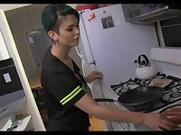 Cute shemale hottie solos in kitchen