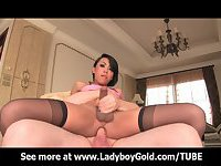 Ladyboy Many Pink Satin Anal Love