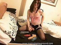 Smoking crossdresser slut Kirsty pumps her big cock while fucking big anal toy