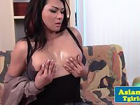 Amateur asian tgirl tugging herself to climax