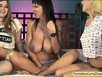 Two big titted babes fucked by shemale
