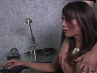 Transbabe model Patricia jacks her prick